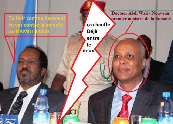 clash entre Le nouveau premier ministre de la somalie - Docteur Abdi wali- et le président de la Somalie