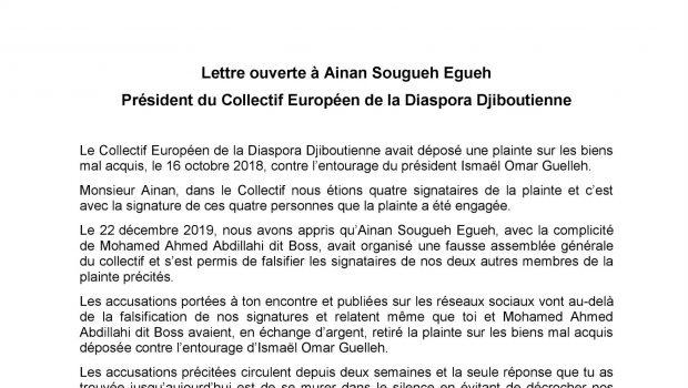 Djibouti/Biens mal Acquis: lettre  ouverte à Ainan Sougueh Egueh
