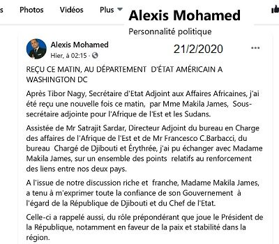 Djibouti : Le chargé de mission du président de Djibouti rentre bredouille de sa mission à Washington.